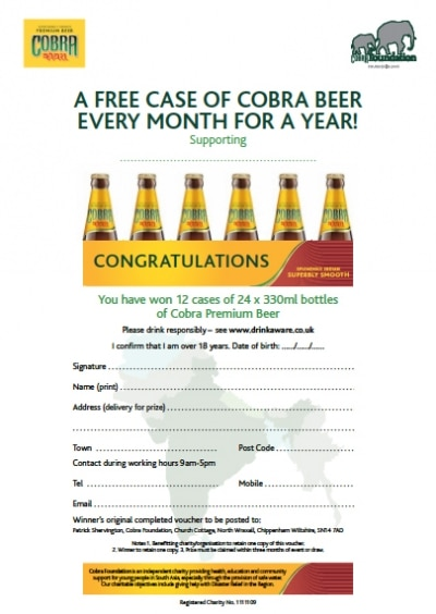 Your prize winner will receive an official certificate in order redeem their 12 cases of Cobra beer.